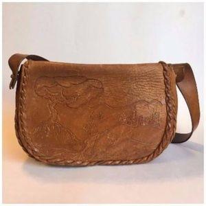 Vintage Handmade Engraved Brown Leather Purse